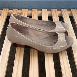 Cole Haan Shoes - Cole Haan Tan Patent Leather Peeptoe Wedges
